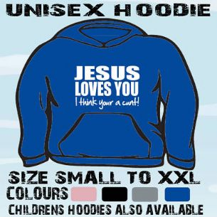 JESUS LOVES YOU FUNNY SLOGAN HOODIE HOODED TOP GIFT